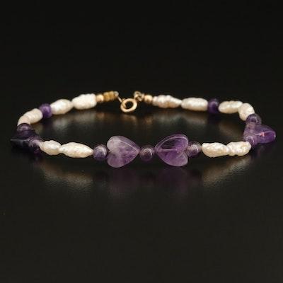 14K Gold Pearl and Amethyst Heart Bracelet