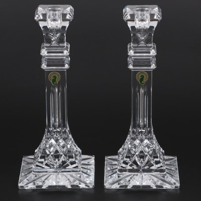 """Pair of Waterford Crystal """"Lismore"""" Single Light Candlesticks"""