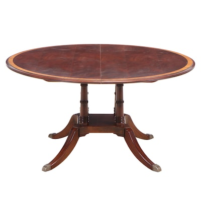 George III Style Cross Banded Mahogany Dining Table
