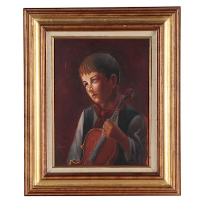 Oil Painting of Young Child With Broken String, Late 20th Century