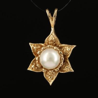 14K Pearl Flower Pendant
