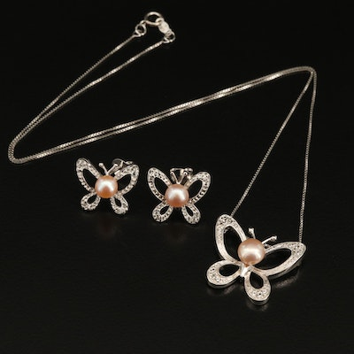 Sterling Silver Pearl and Topaz Butterfly Necklace and Earring Set