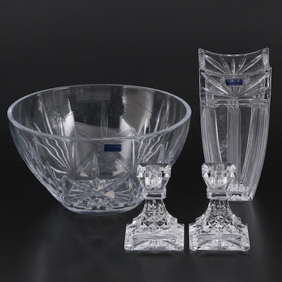 """Waterford Crystal """"Lismore"""" Candlesticks and Marquis by Waterford Vase and Bowl"""