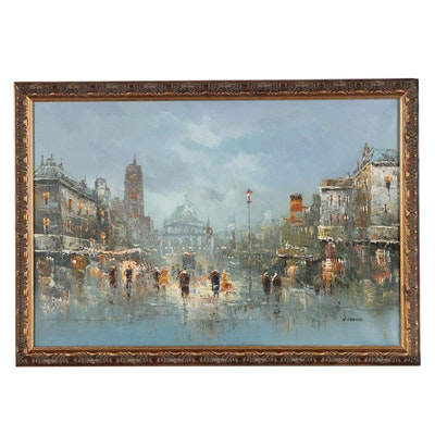 Parisian Street Scene Oil Painting, Circa 2000