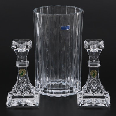 """Waterford Crystal """"Lismore"""" Candlesticks and Marquis by Waterford Oval Vase"""
