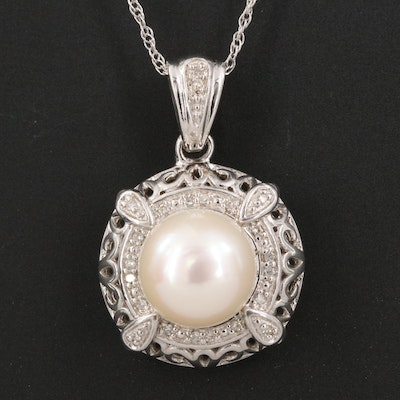Sterling Silver Diamond and Pearl Pendant Necklace