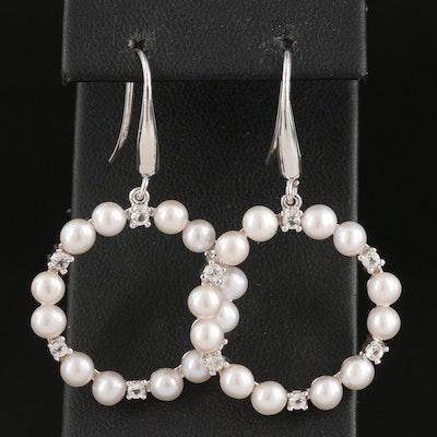Sterling Silver Pearl and Topaz Hoop Drop Earrings