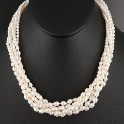 Multi-Strand Pearl Torsade with Sterling Clasp