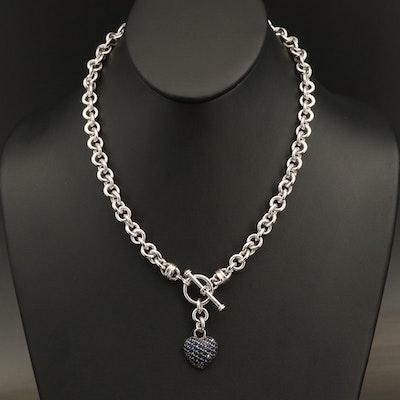 Pavé Sapphire Heart Necklace