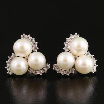 Pearl and Topaz Trefoil Stud Earrings