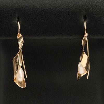 14K Pearl Spiral Earrings