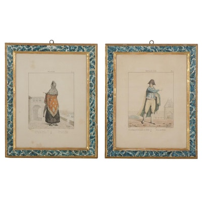 Edmé Jean Pigal Hand-Colored Lithographs, Mid-19th Century