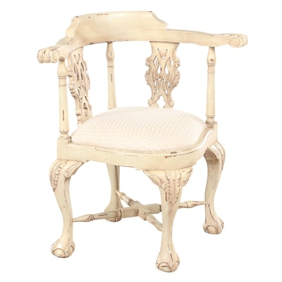 Chippendale Style Painted Wood and Upholstered Corner Chair