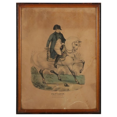 """Hand-Colored Lithograph """"Napoleon - the Hero of 100 Battles,"""" Mid-19th Century"""
