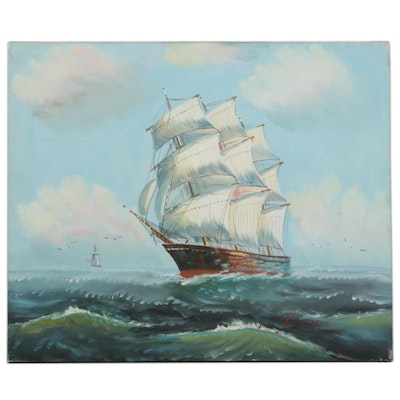 K. Dossi Maritime Oil Painting of Tall Ship at Sea, Circa 2000