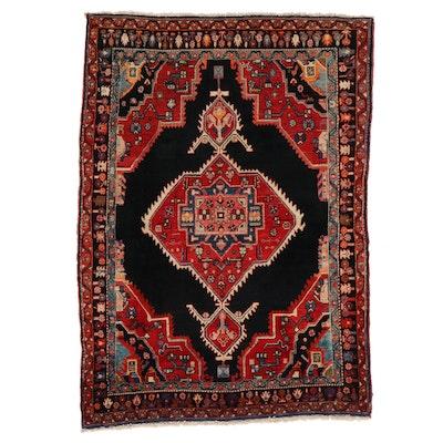 4'8 x 6'10 Hand-Knotted Persian Hamadan Area Rug