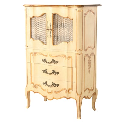 John Widdicomb Louis XV Style Cream-Painted and Parcel-Gilt Clothes Press