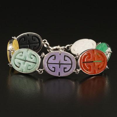 Sterling Jadeite Hololith Link Bracelet