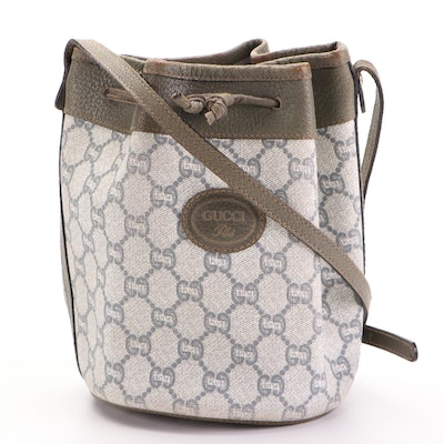 Gucci Plus Mini Bucket Bag in GG Plus Canvas with Green Leather Trim