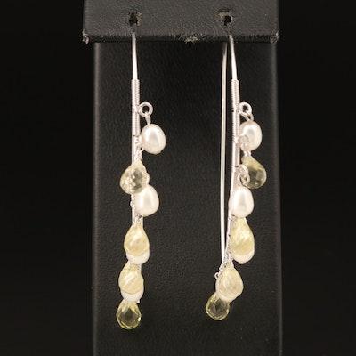 Sterling Citrine and Pearl Earrings
