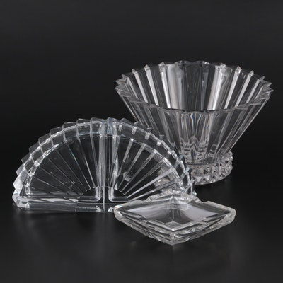 """Rosenthal """"Blossom"""" Centerpiece Bowl with Cristal D'Arques Bookends and Ashtray"""