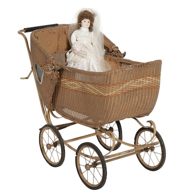 Wicker Perambulator with Porcelain Doll on Stand