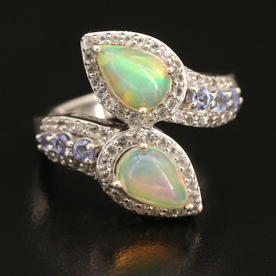 Sterling Opal, Tanzanite and Topaz Bypass Ring