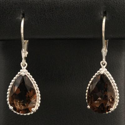 Sterling Smoky Quartz Drop Earrings