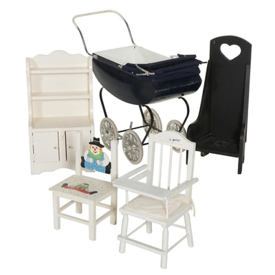 Doll Accessories Including a Perambulator, High Chair, and Clown Chair
