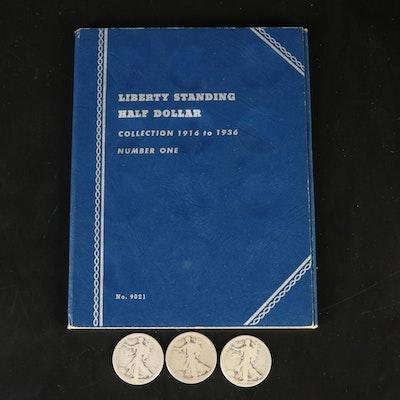 Fifteen Walking Liberty Half Dollars, 1918 - 1936