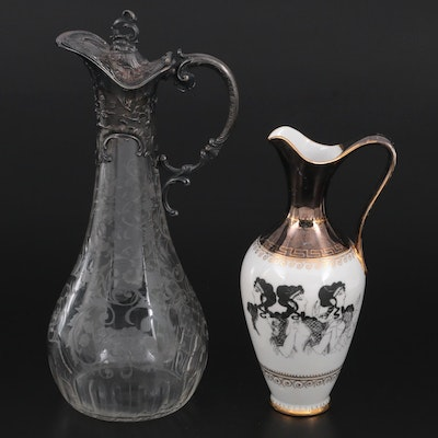 Greek Motif Ceramic Pitcher and German Glass and Silver Plate Pitcher