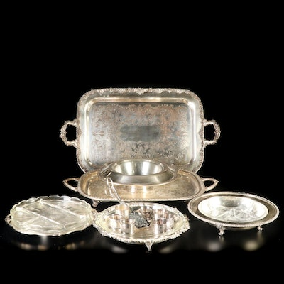 Silver Plate Serving Trays and Dishes with Indian Glass Relish Tray