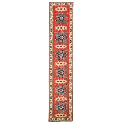 2'8 x 13' Hand-Knotted Afghan Kazak Carpet Runner