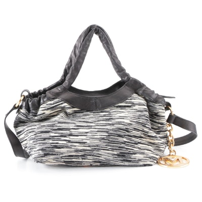 M Missoni Shoulder Tote Bag in 2-Tone Jacquard Knit & Leather