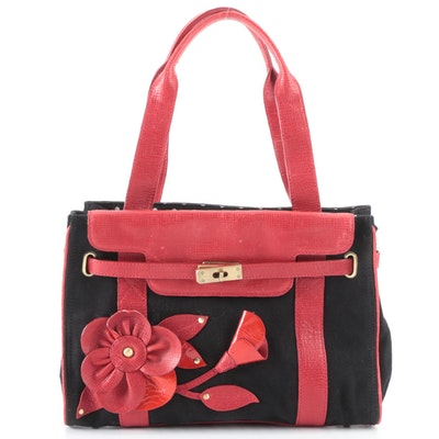 Moschino Cheap & Chic Shoulder Satchel in Black Canvas & Red Embellished Leather