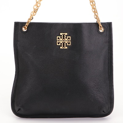 Tory Burch Convertible Tote in Black Pebbled Leather