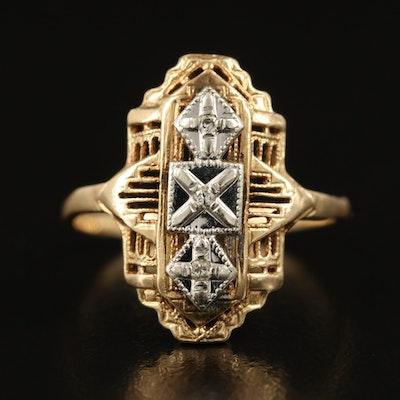 Vintage 10K Two Tone 0.03 CTW Diamond Ring