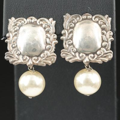 Sterling Faux Pearl Drop Clip Earrings
