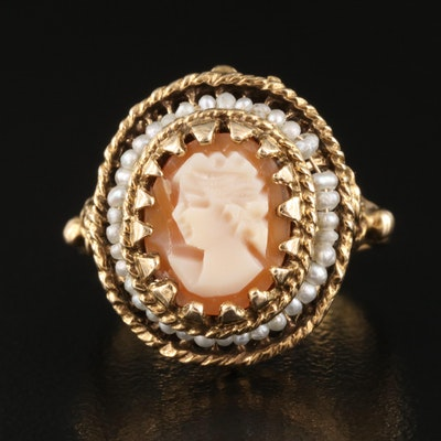 Vintage 14K Carved Shell Cameo Ring with Rope Border Detail