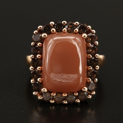 Sterling Moonstone and Smoky Quartz Ring