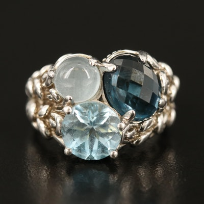 Sterling London Blue Topaz, Sky Blue Topaz, and Aquamarine Ring