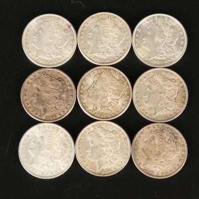 Nine Morgan Silver Dollars, 1886 - 1921