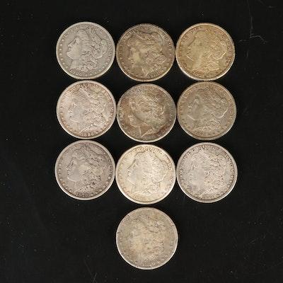 Ten Morgan Silver Dollars, 1879 - 1921