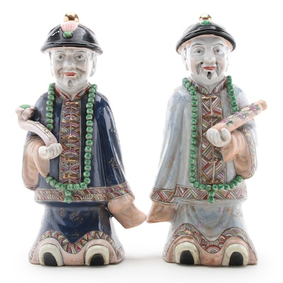 Chinese Enameled Earthenware Figures of Qing Emperors