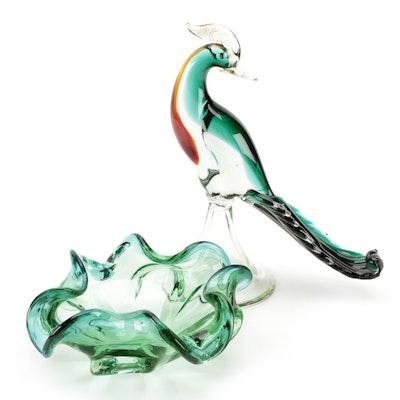 Murano Style Art Glass Bird Figurine and Decorative Bowl