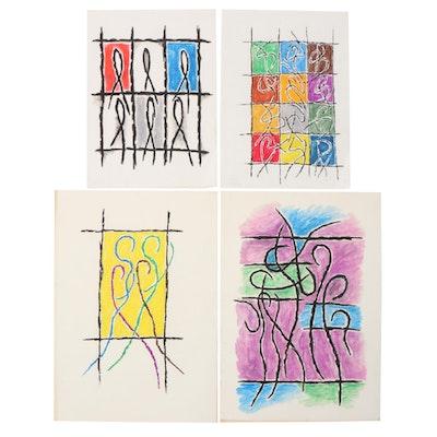 Achi Sullo Abstract Figural Oil Stick Drawings, Circa 1963