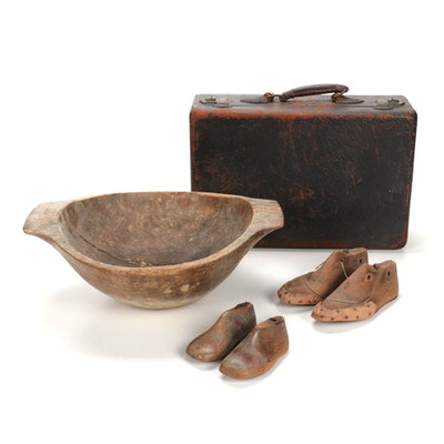 Leather Suitcase With Wooden Bowl and Cobbler Wooden Shoe Forms