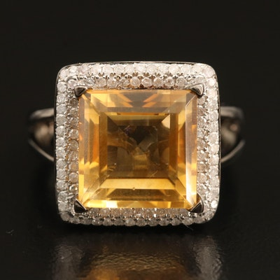 Sterling Silver Citrine and Diamond Halo Ring with Split Shoulders