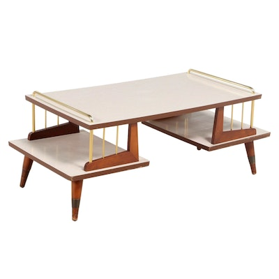 Mid Century Modern Brass-Mounted Cherrywood and Laminate Two-Tier Coffee Table