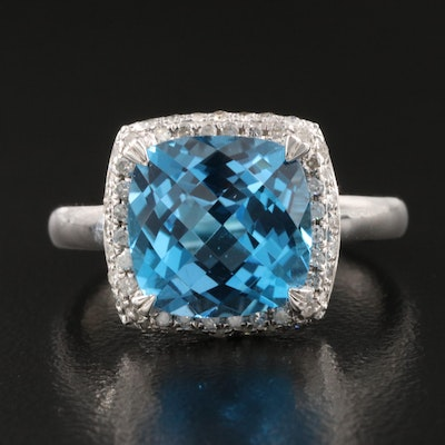 Sterling Silver Swiss Blue Topaz and Diamond Halo Ring